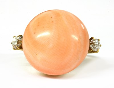 Lot 29 - A gold coral and diamond ring