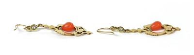 Lot 28 - A pair of 9ct gold coral and diamond drop earrings
