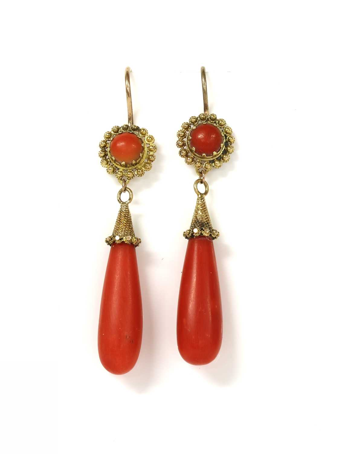 Lot 25 - A pair of gold coral drop earrings