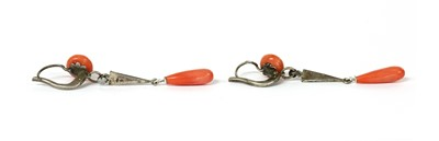 Lot 21 - A pair of French silver coral and marcasite drop earrings