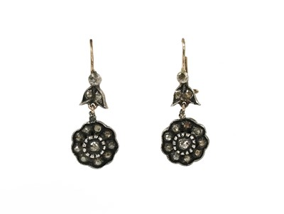 Lot 61 - A pair of silver and gold rose cut diamond cluster earrings