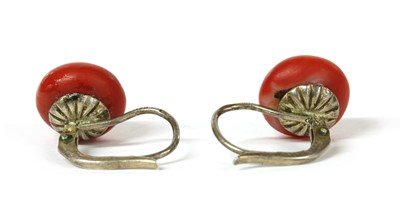Lot 22 - A pair of silver coral earrings