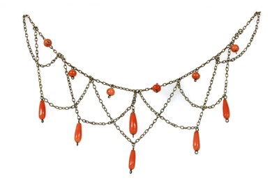 Lot 20 - A silver coral swag necklace