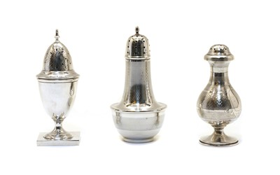 Lot 3 - Three various silver casters