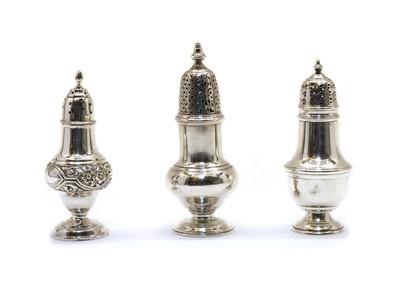 Lot 1 - Three various silver sugar casters