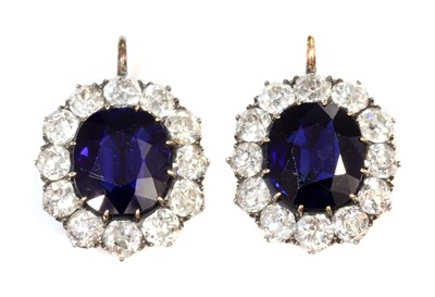 Lot 34 - A pair of Austrian sapphire and diamond cluster earrings c.1890