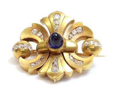 Lot 90 - A former Austro-Hungarian sapphire and diamond double fleur-de-lys shaped brooch