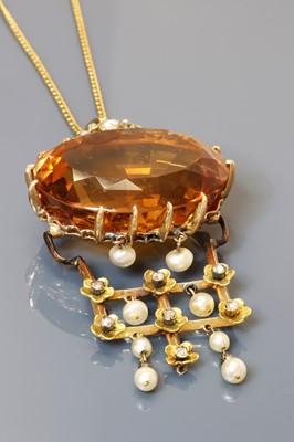 Lot 94 - A Continental citrine, pearl and diamond pendant, c.1880