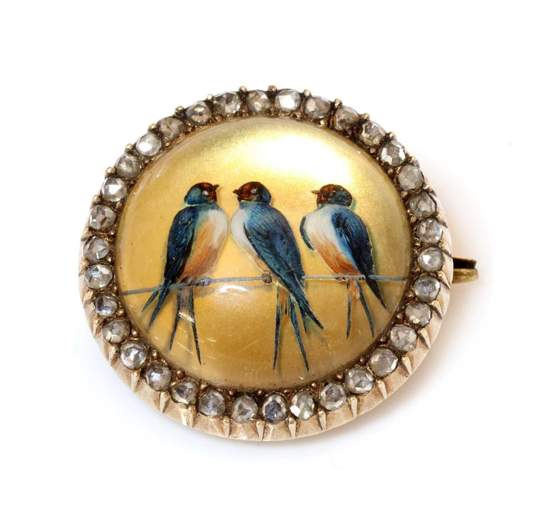 Lot 51 - A former Austro-Hungarian diamond set reverse painted crystal intaglio brooch, c.1880