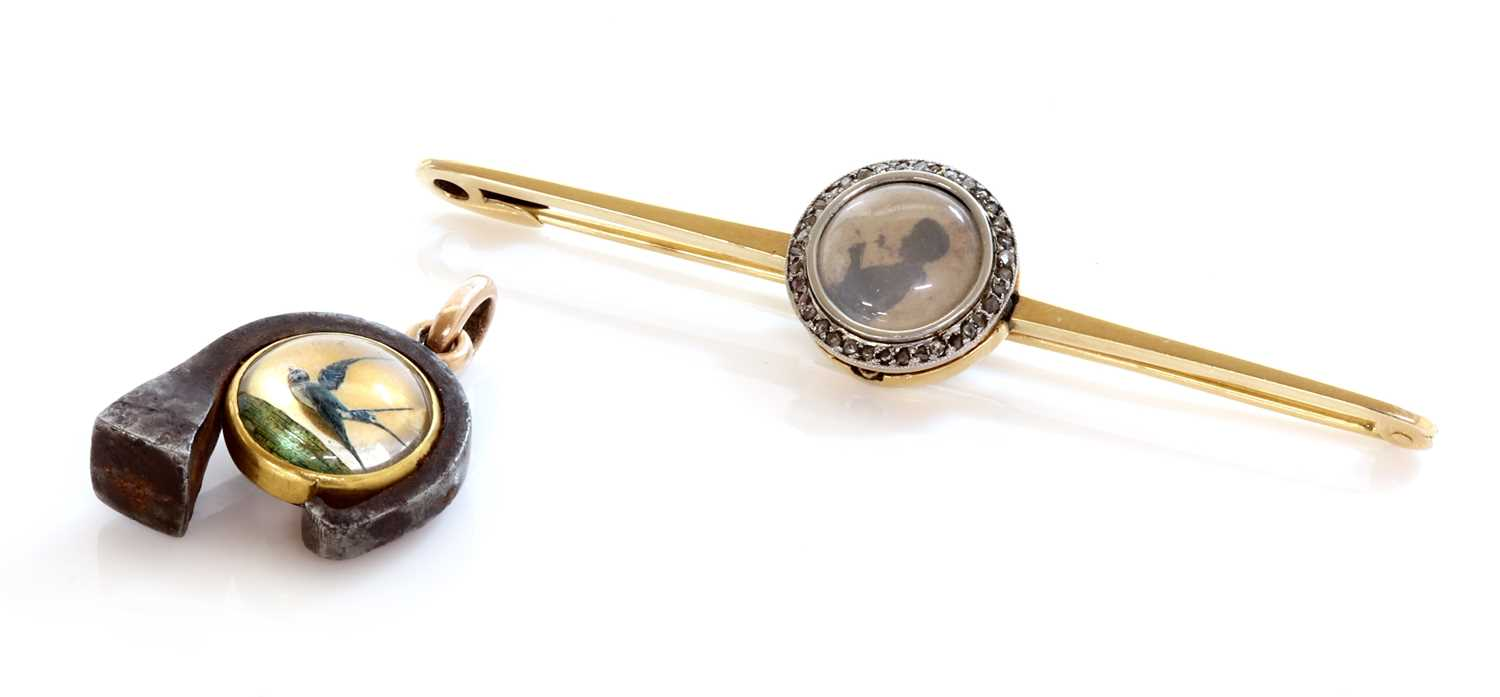 Lot 50 - A gold and steel reverse painted crystal intaglio charm/pendant, c.1890