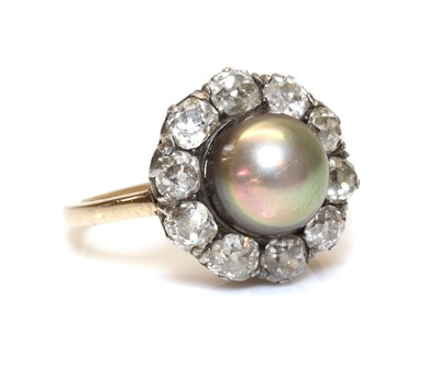 Lot 147 - A Continental natural saltwater pearl and diamond cluster ring, c.1890