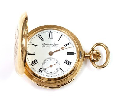 Lot 119 - A Swiss 14ct gold hunter repeater fob watch