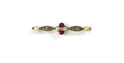 Lot 1042 - A gold and silver, ruby, diamond split pearl bar brooch
