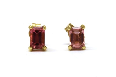 Lot 100 - A pair of 18ct gold single stone tourmaline stud earrings