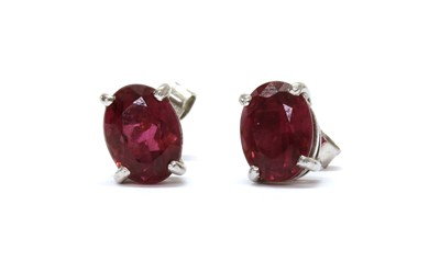 Lot 101 - A pair of 18ct white gold pink tourmaline stud earrings