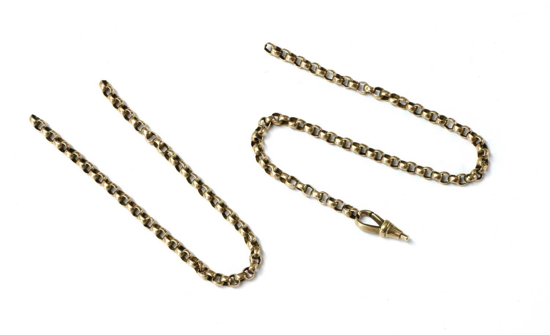 Lot 95 - A length of gold belcher chain