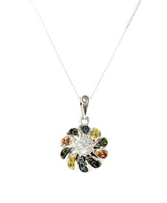 Lot 73 - A white gold diamond and fancy coloured diamond pendant