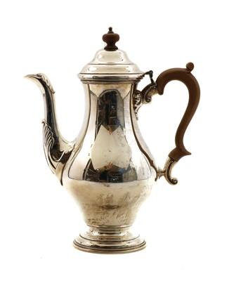 Lot 2 - A Georgian style silver coffee pot