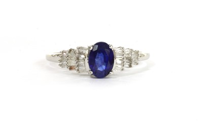 Lot 127 - A white gold sapphire and diamond ring