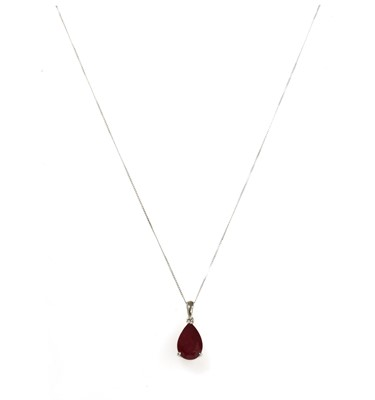 Lot 108 - A white gold single stone fracture filled ruby pendant