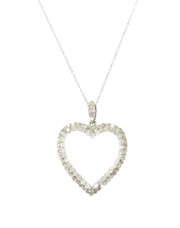 Lot 80 - A white gold diamond heart pendant