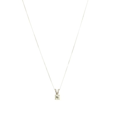 Lot 65 - A white gold single stone diamond pendant