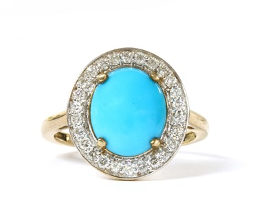 Lot 136 - A gold turquoise and diamond halo cluster ring