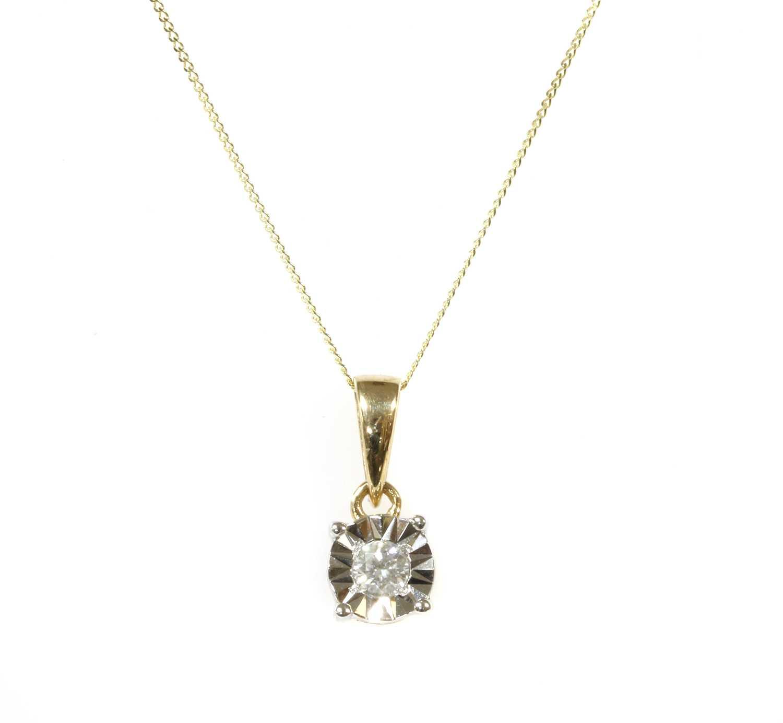 Lot 47 - A gold single stone diamond pendant