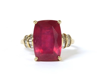 Lot 110 - A gold fracture filled ruby and diamond ring