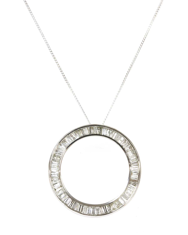 Lot 74 - A white gold diamond pendant
