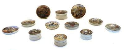 Lot 74 - Twelve Victorian coloured pot lids