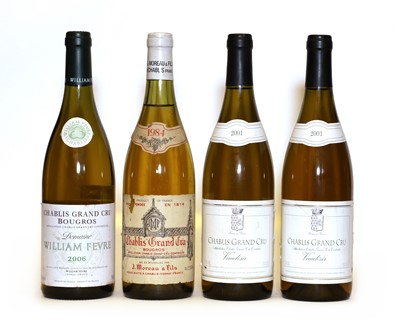 Lot 41 - Chablis, Grand Cru, Bougros, J. Moreau & Fils, 1984, one bottle and three various others