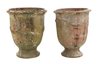 Lot 657 - Two similar 'Poterie d'Anduze' glazed terracotta garden urns
