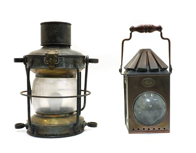 Lot 91 - Two early 20th century ship's lamps