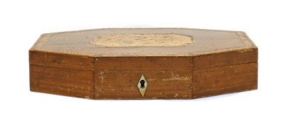Lot 58 - A 19th century wooden games box with mother of pearl gaming counters