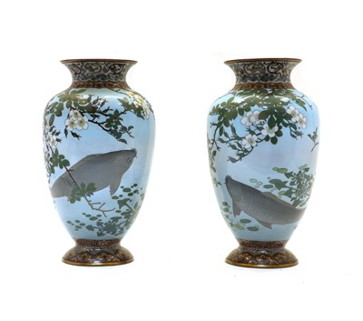 Lot 95 - A pair of Japanese cloisonne vases
