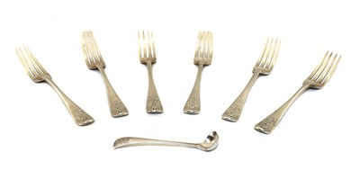 Lot 29 - Six Victorian naval silver dinner forks and a small ladle