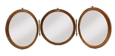 Lot 63 - An Edwardian folding triple dressing mirror