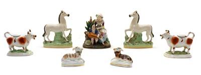 Lot 77 - Ceramics, comprising: a pair of white Staffordshire horses