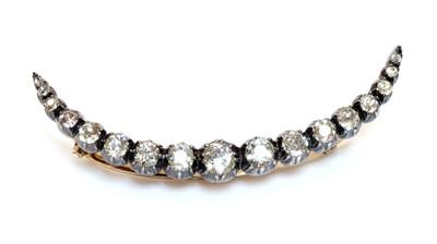 Lot 33 - A Victorian diamond crescent brooch or hair ornament