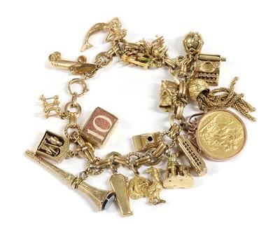 Lot 1096 - A 9ct gold charm bracelet