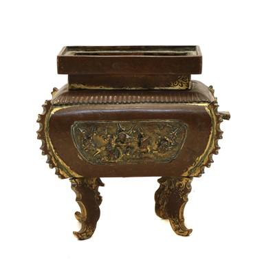 Lot 71 - An 18th century Chinese gilt copper bombe shaped rectangular sensor