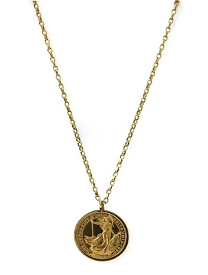 Lot 1084 - An Elizabeth II one ounce fine gold 100 pound Britannia coin pendant