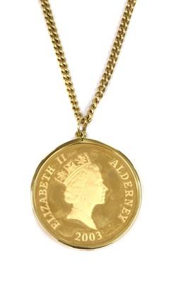 Lot 1085 - An Elizabeth II Alderney 'Concorde' 5 pound coin pendant