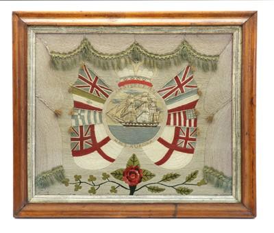 Lot 84 - A sailorwork maritime needlework picture