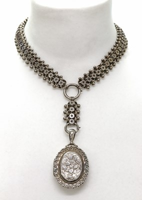 Lot 77 - A late Victorian sterling silver locket and collar, c.1880