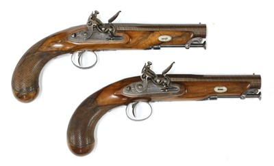 Lot 739 - A pair of late flintlock travelling pistols