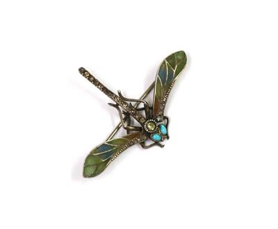 Lot 1049 - A Continental Art Nouveau silver plique-à-jour enamel, turquoise and paste set dragonfly brooch
