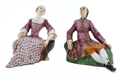 Lot 165 - A pair of Niderviller faience figures