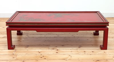 Lot 5 - A Chinese-style red-lacquered coffee table in the manner of Mallett & Sons
